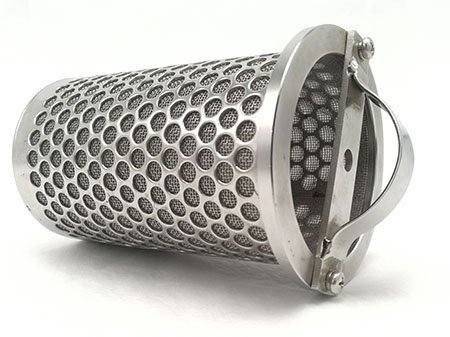 Sintered metal mesh filter basket strainer with grip band laying down