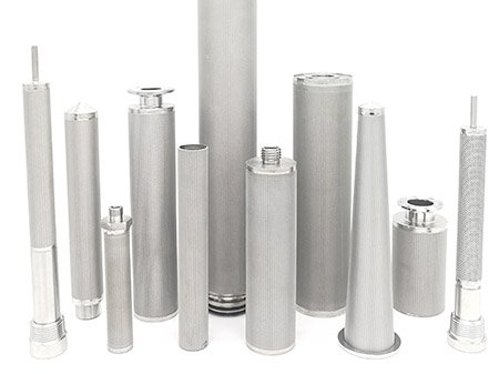 Dozens of sintered metal mesh filter cartridges