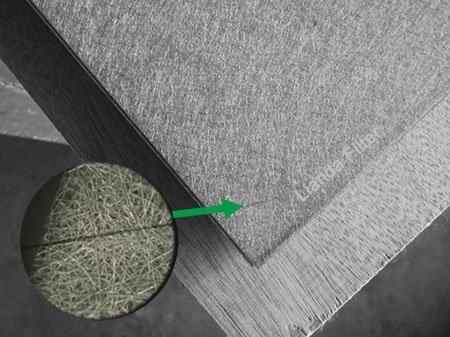 Sintered metal fiber felt - magnified view can see the random laid metal fiber