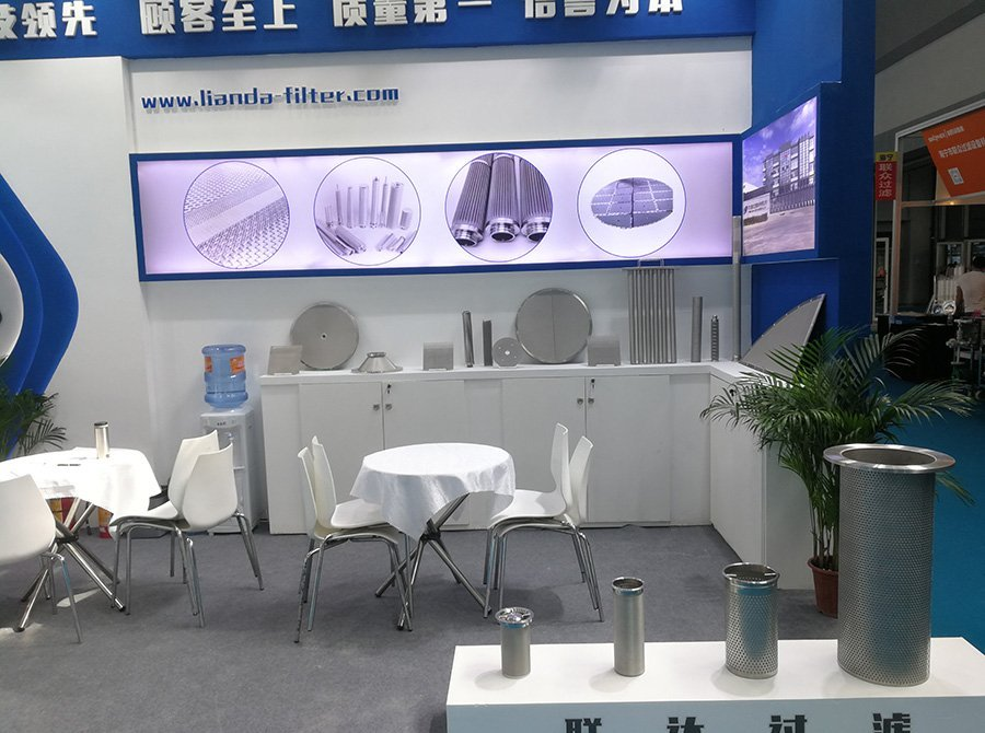 Sintered wire mesh and filter elements showing in Lianda Filter booth in API China 2021